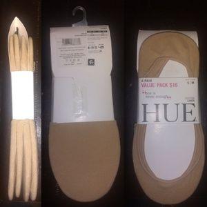 Hue 4 pairs nude cotton hidden liner socks S/M